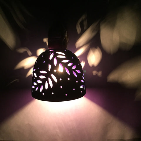 "round night light ""curving leaves""  blue with purple interior"