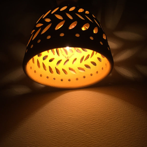 round night light in white double leaf garland yellow interior
