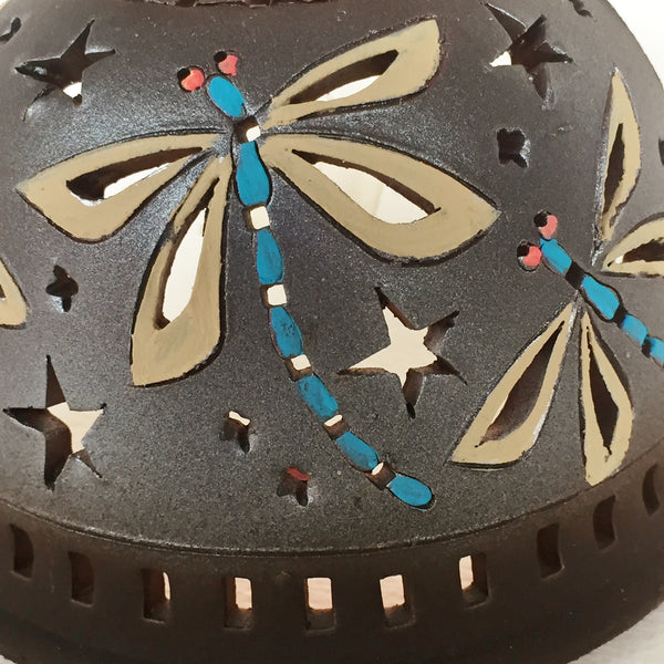 Half round night light brown and metallic finish/ three dragonflies