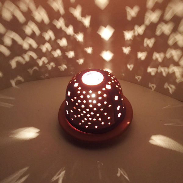 StarLight night lamp/ three red, gold rimmed hearts