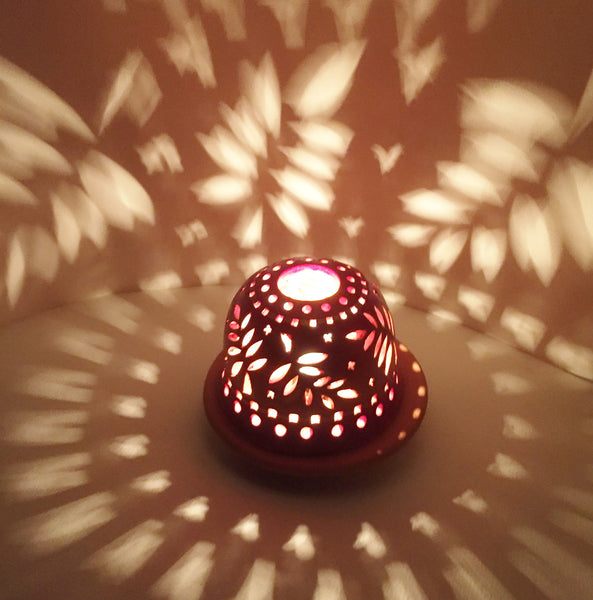StarLight night lamp/ Golden ferns on red to orange background