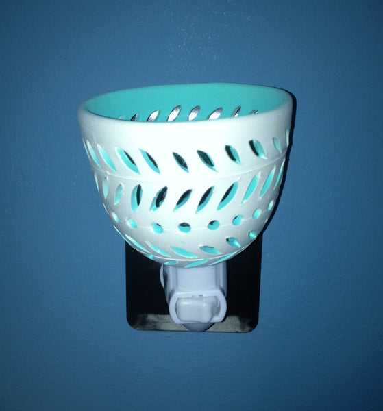 "round night light ""leaf garlands"" white with aqua interior from Starrylights Studio"