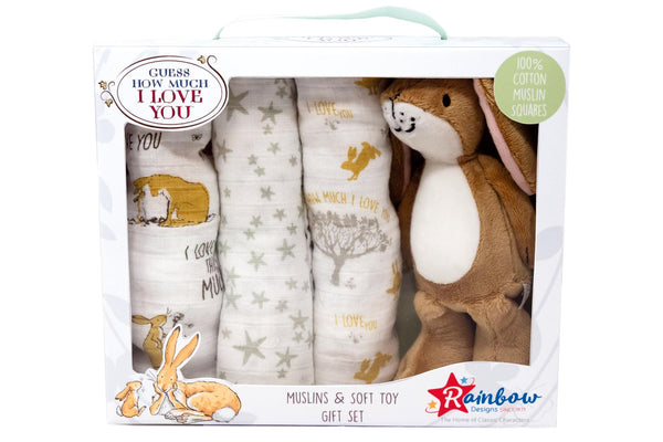 Guess How Much I Love You Soft Toy with Muslin Gift set
