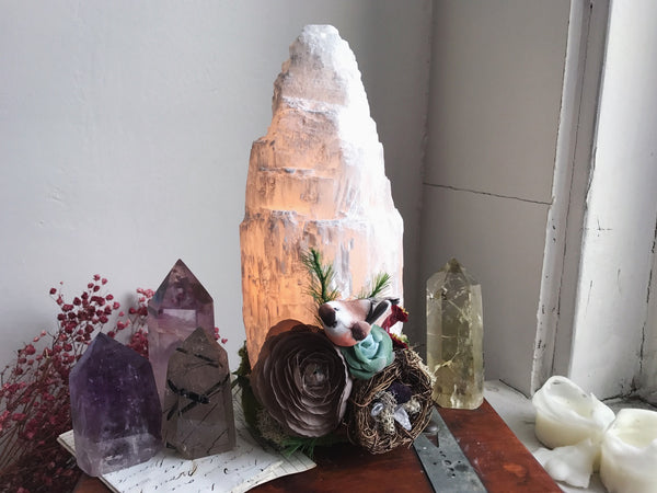 Botanical Selenite Lamp No. 2