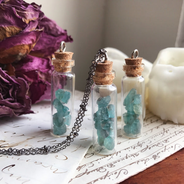 Blue Apatite Bottle Necklace