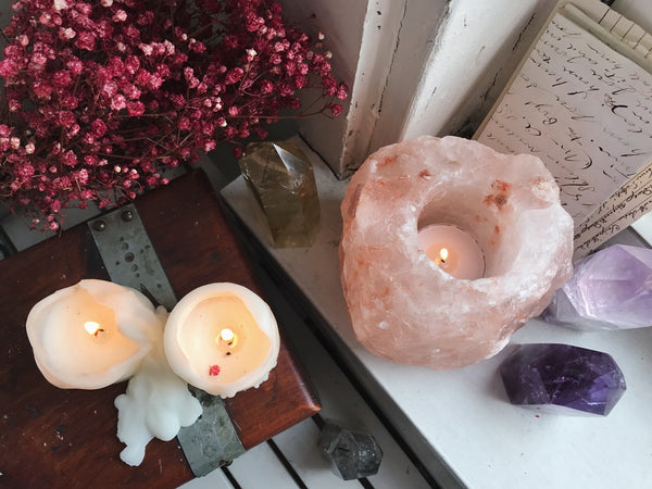 Pink Himalayan Salt Candle Holder