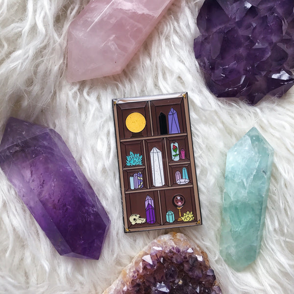 Crystal Shelf Soft Enamel Pin with Simulated Gemstone (Seconds)