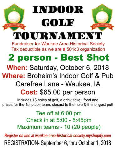 Indoor Golf Fundraiser Registration  6 PM Tee time