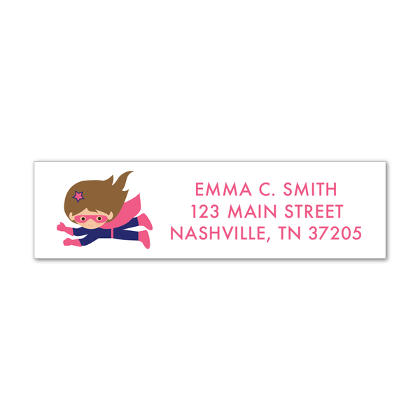 Children's Return Address Labels - Superhero (Girl)