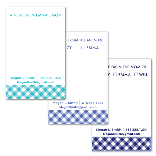 Parent Contact Notepad - Gingham