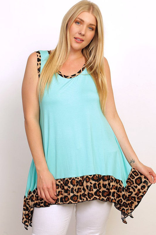 fa4a8a9bba PLUS SIZE Mint and Leopard Sleeveless Tunic Top - Southern Revival ...