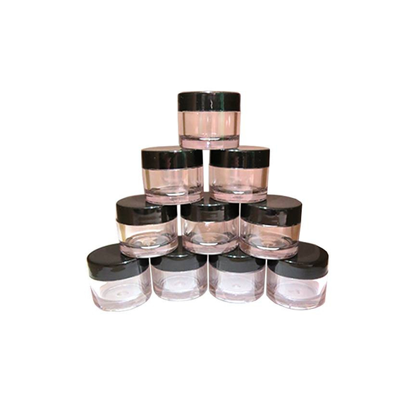 Empty Clear 7g Jar with Black Bore Seal Cap - Pack of 10 | Naio Nails