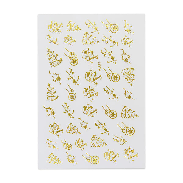 Christmas Sticker - Elegant Design - Gold