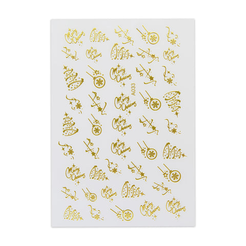 (NEW) Christmas Sticker - Elegant Design - Gold