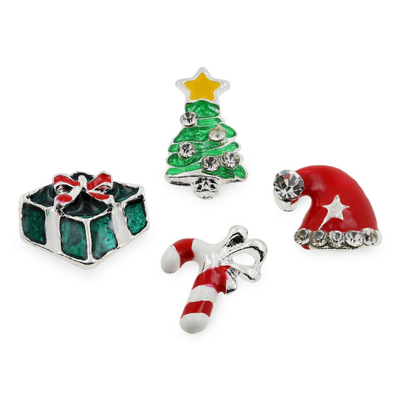 Set of 4 Christmas Nail Art 3D Zinc Alloy Nail Charms