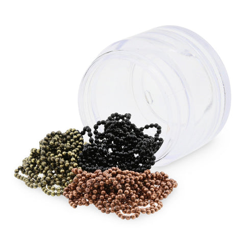 Metal Nail Art Micro Bead Chain - Bronze, Black & Vintage Gold