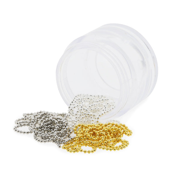 Metal Nail Art Micro Bead Chain - Gold, Silver & Pearl White