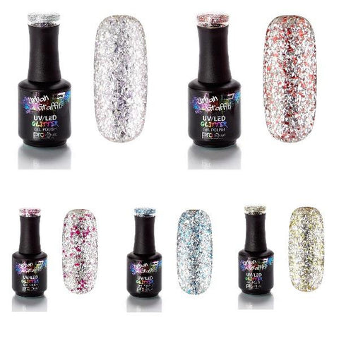 Silver Glitter Gel Polish Collection | Naio Nails