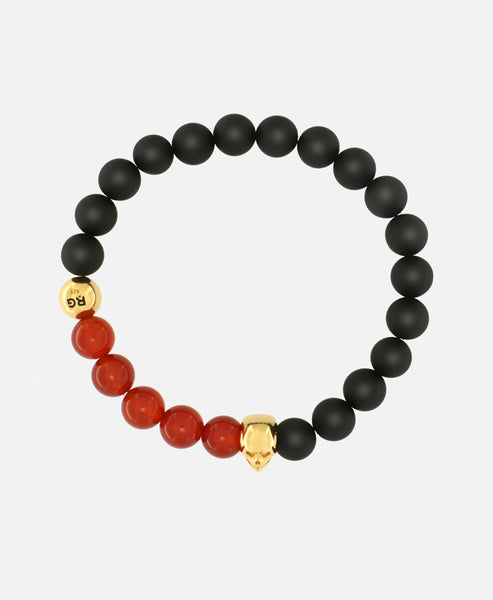 RED AGATE AND MATT ONYX GOLD SKULL BRACELET