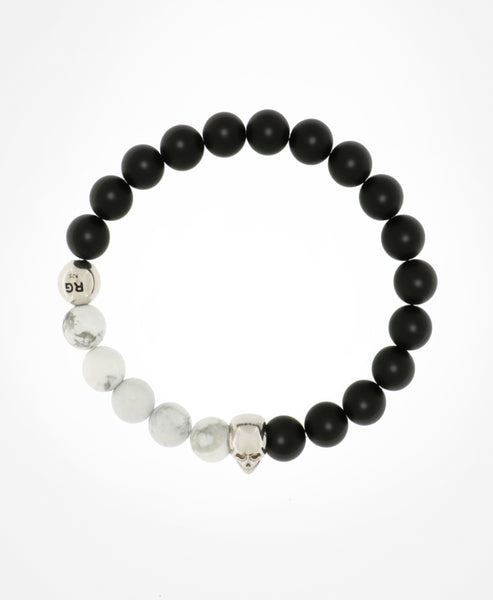 SLEEK AND CHIC BLACK AND WHITE MATT ONYX, HOWLITE AND SILVER BEADED BRACELET