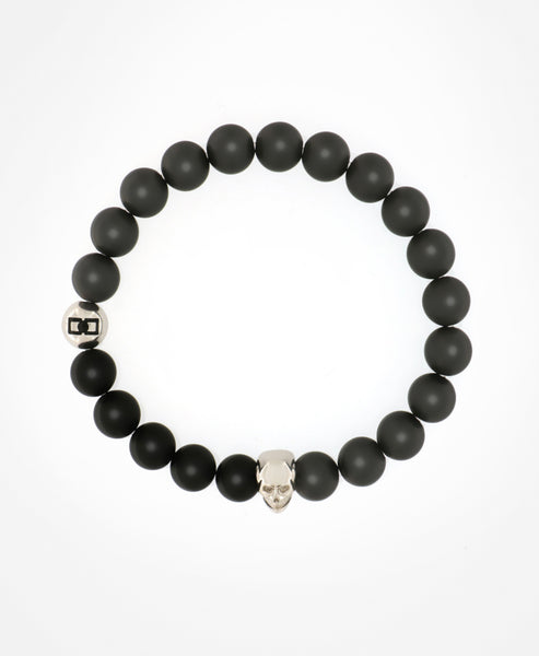 STYLISH MASCULINE GREY/BLACK MATT BEADED BRACELET