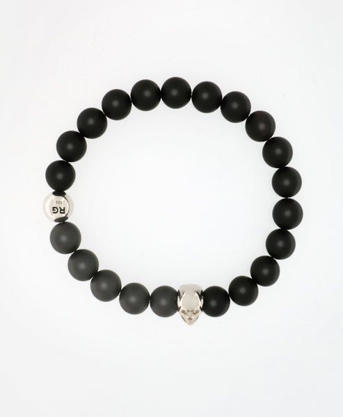 BLACKED OUT MATT ONYX / HEMATITE AND SILVER SKULL BEADED BRACELET
