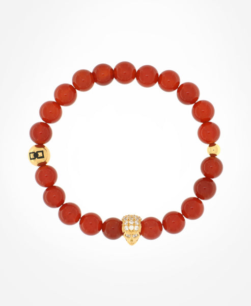 RED AGATE WITH SWAROVSKI GOLD SKULL AND GOLD LOGO MOTIF BEADS BRACELET