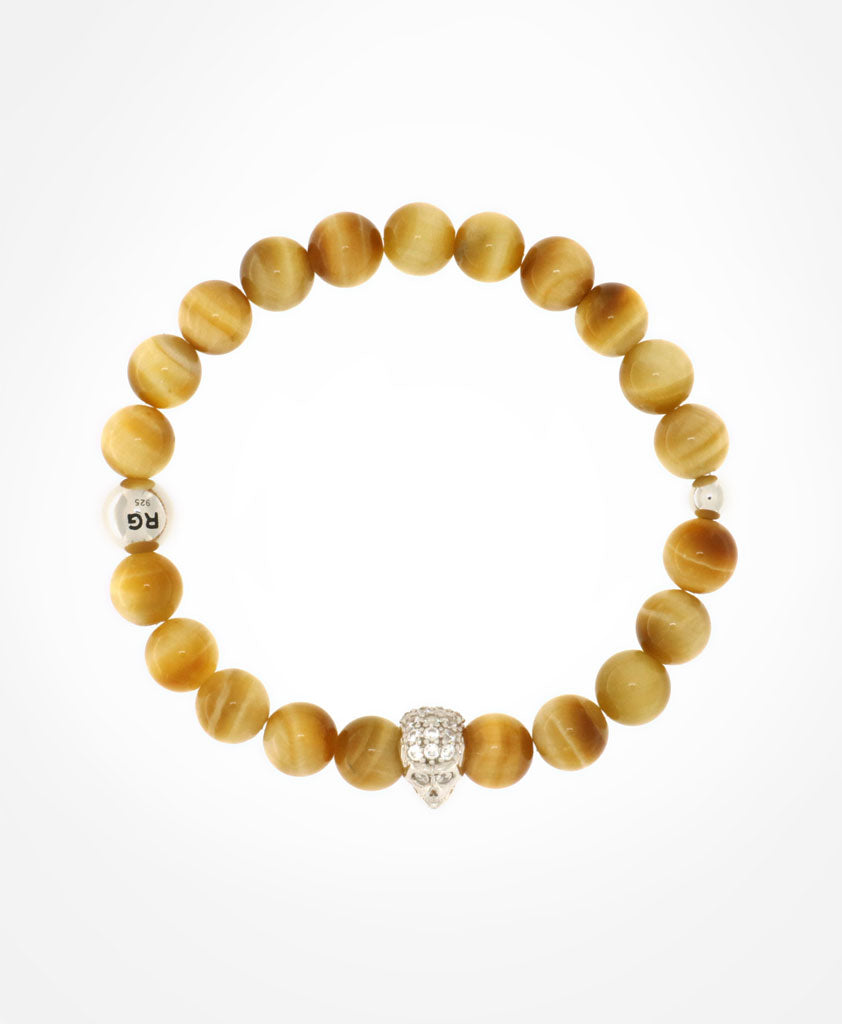 RARE GOLD TIGER EYE WITH SWAROVSKI SILVER SKULL AND SILVER LOGO MOTIF BEADS BRACELET