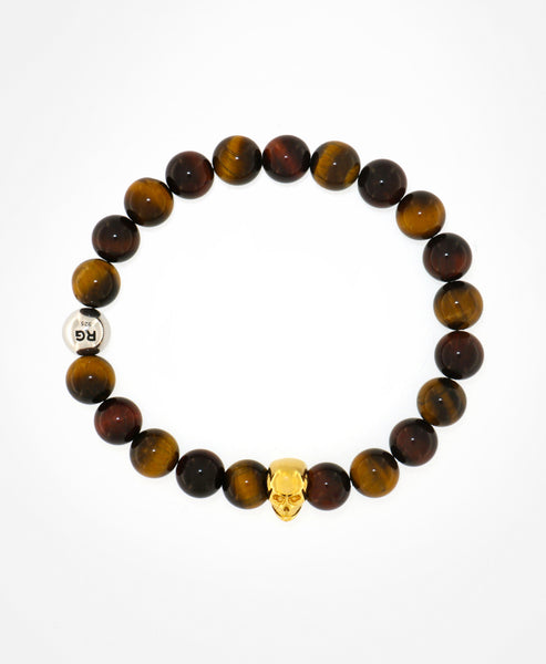 Man Tiger Eye beads bracelet - Gold skull-Rafael Giordano