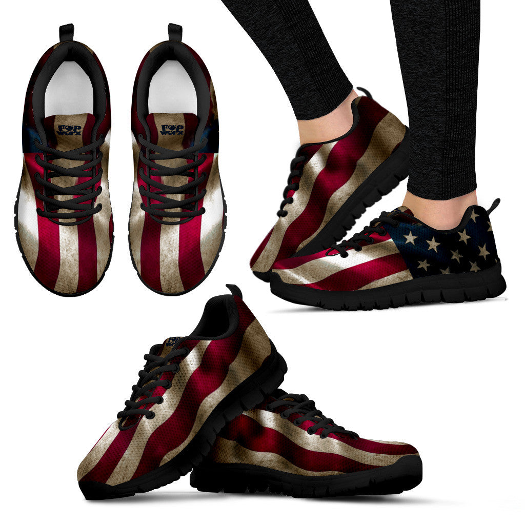 Pop Worx Vintage US Flag Running Shoes