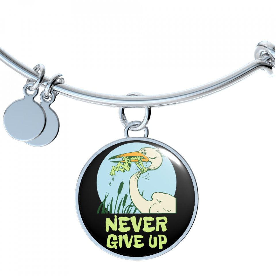 Never give up necklace frog and stork