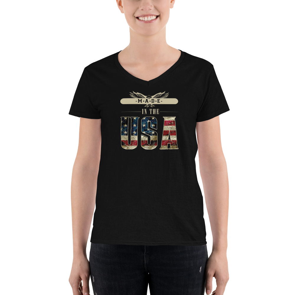 Made in the USA Women's Casual V-Neck Shirt