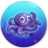 Baby Octopus Cartoon - 20 Stickers for $6