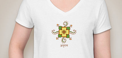 Mehndi (Henna) Flower with Hearts with Love in Sanskrit V-Neck T-Shirt