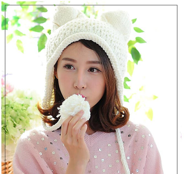 Kitty Ear Knitted Beanie Hat with Earmuffs and Pom Poms