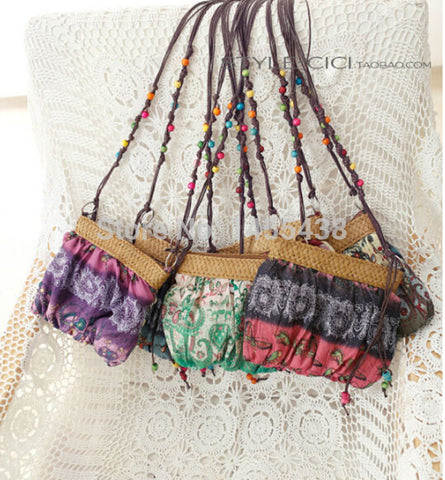 Boho Exotic Floral Straw Weave Strap Cloth Purse