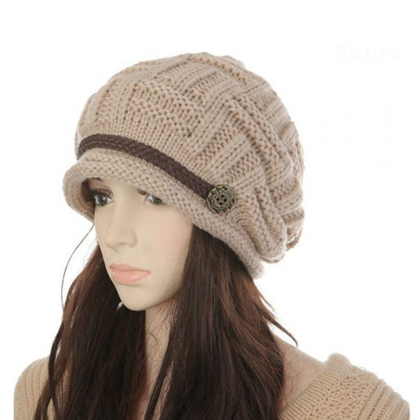 Crochet Beanie Cap with Braided Strap and Decorative Button
