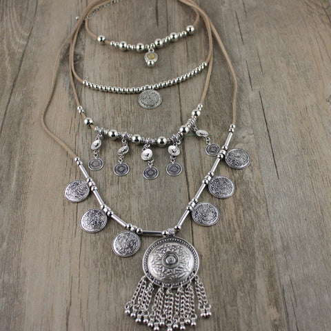 Silver Coin Pendants Long String Leather necklaces from India