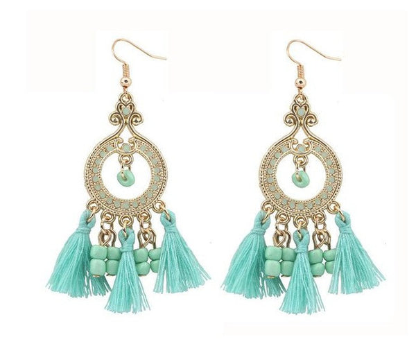 Water Drop Earrings with Beads and Tassles in Cream, Mint and Mango