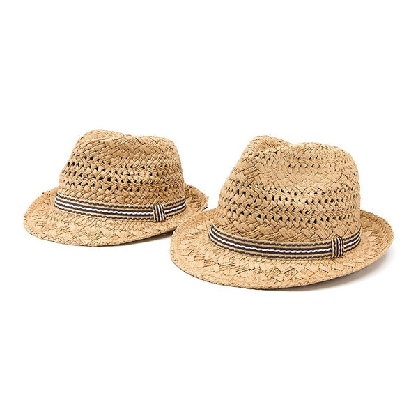 Beach Boho Straw Fedora Sun Hat with Cool Stripety Band