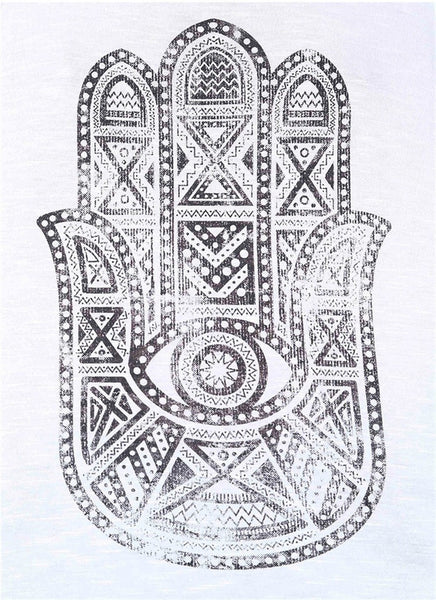 White Tank Top with Hamsa Symbol