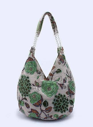 Linen Tote Bag with Floral Embroidery and Bead Work
