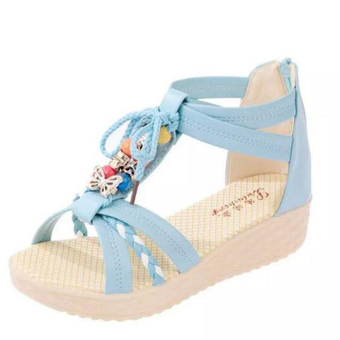 Cute Beads and Butterfly Boho Sandals in Cream, Baby Blue and Pink
