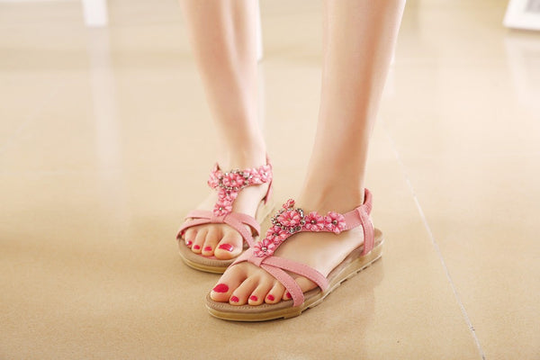 Cute and Comfortable Rhinestone Flower Sandals