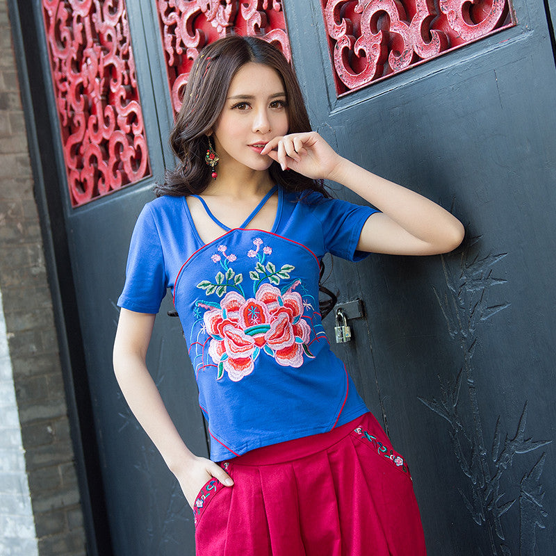 Exotic Boho Embroidered Cotton T-Shirt