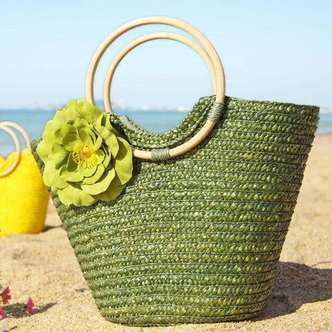 Colorful Straw Beach Bag with Flower and Hoop Handles