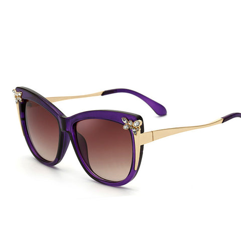 Cat Eye Sunglasses with Jeweled Butterfly Decoration UV400