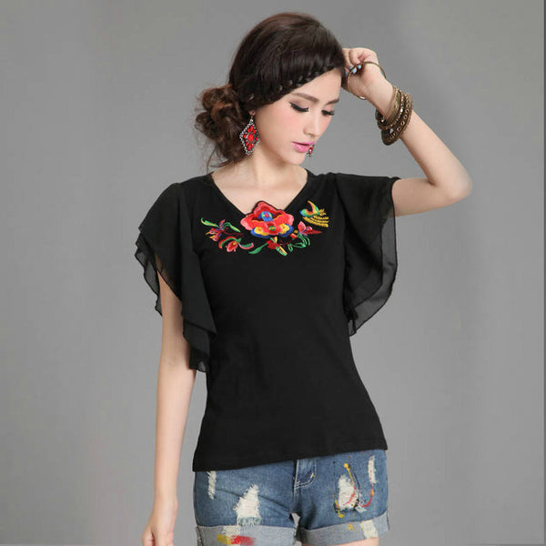 Lotus Embroidered Short Sleeve Gauze and Cotton Blouse in Black or White