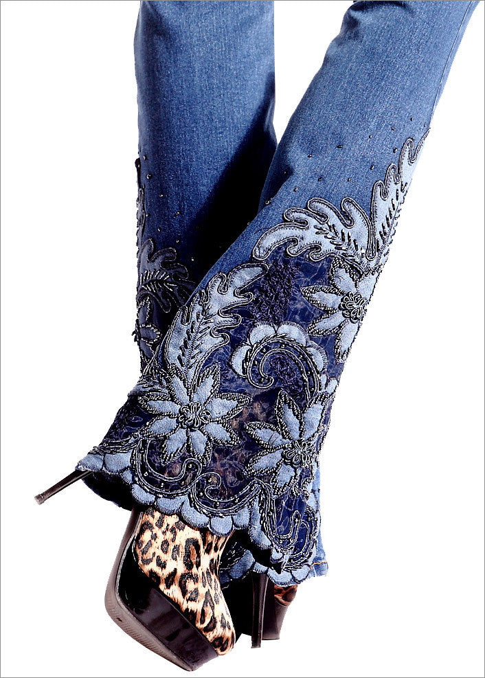 Beaded, Embroidered and Laced Flared Bell Bottom Jeans