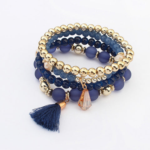 Bead Bracelets with Tassel (4 in a set)